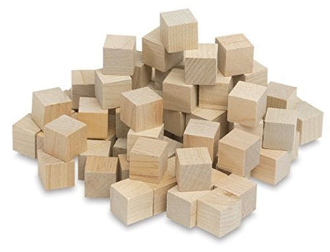 "1"" Wooden Cube- Unfinished wood, great for DIY crafting. By Woodspeck (48 Pack)"