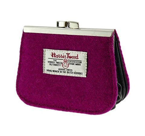 Lovely Authentic Harris Tweed Clasp Coin Purse With Discreet Card Section in Fuschia Pink