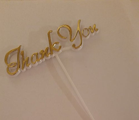 """Thank You"" Gold Basket Flower Pick 12 pc"
