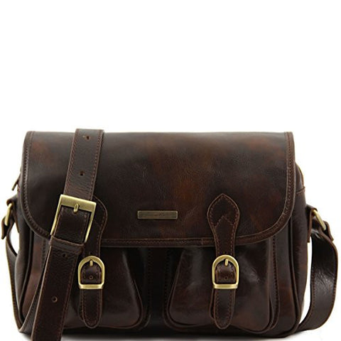 Brown Italian Polished Calf Skin Leather Messenger Bag With Two Front Pockets-Available colors: black, brown, dark brown (Dark Brown)