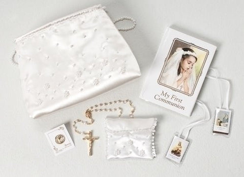 6 Communion 6 Pc Set W/Beaded Purse And Rosary Bag by Roman by Roman