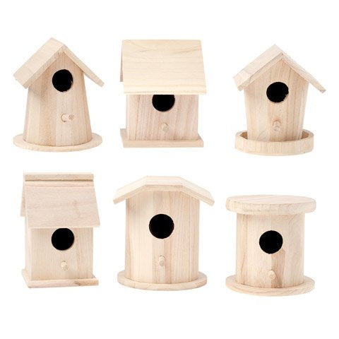 Darice 9180-10 Value Promo Wooden Finch Birdhouse Assorted Styles x 1 Piece 5-7 Inches Each