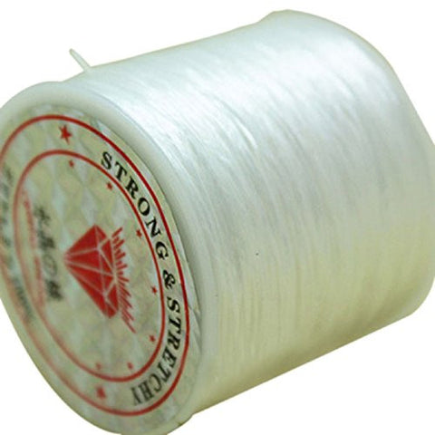 Tonsee Elastic Stretch Crystal String Beading Thread Spool Roll 60 Yards 1mm (White)