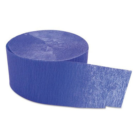 "Cindus Crepe Streamers, 1 3/4"" x 81ft, Royal Blue - Includes six rolls."