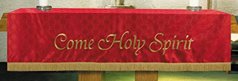 R.J. Toomey Red Polyester Come Holy Spirit Embroidered Altar Frontal, 108 Inch