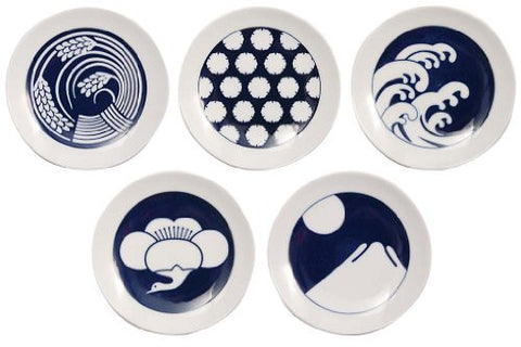 Made in Japan. Five Assortment Season Pattern Kihara Komon Bean Plate