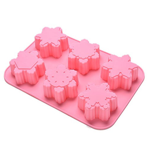 JiaUfmi 6-Cavity Snowflake Silicone Mold for Homemade Soap, Cake, Cupcake, Pudding, Jello, Bread, Muffin and More