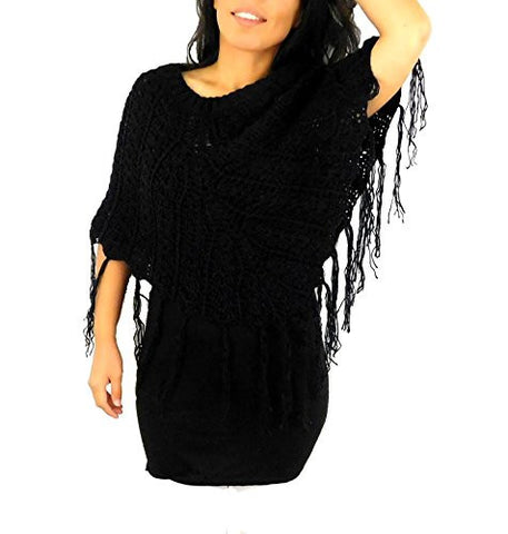 Women's Black Sweater Poncho Shawl Handmade Alpaca