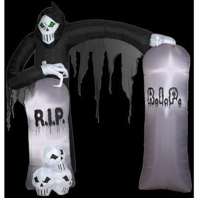 HALLOWEEN DECORATION LAWN YARD INFLATABLE AIRBLOWN REAPER CEMETERY ARCHWAY 8.5' TALL
