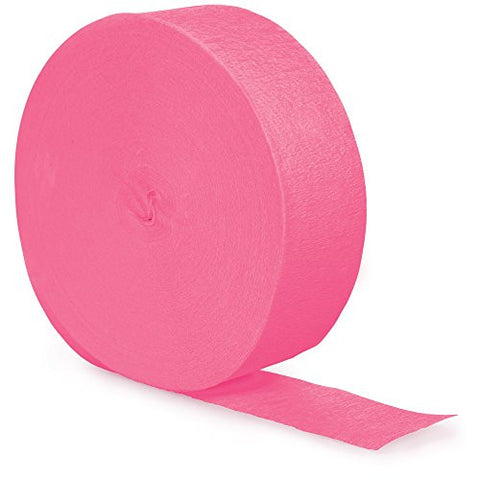 Creative Converting 12 Count Touch of Color 500' Crepe Paper Streamer Rolls, Candy Pink