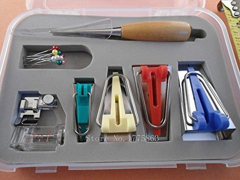 Winson-eseller 16 Pcs Set Bias Tape Maker Kit for Sewing & Quilting Awl and Binder Foot