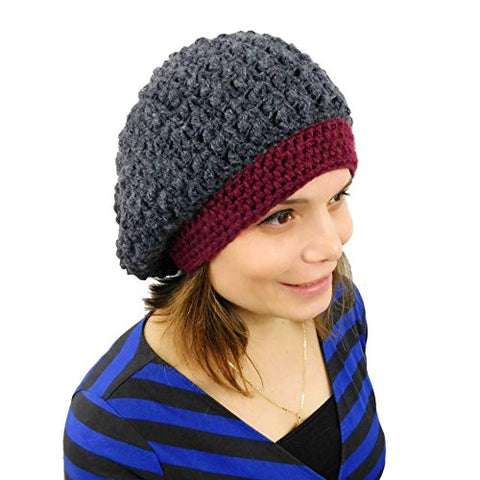 Women's Alpaca Beanie Handmade Slouchy Crochet Hat (Gray - Red)