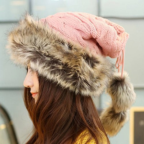 (5 Color) Elegant Women's Hats Winter Warm Knitting Beanie Caps Gilrs Fur Pom Pom Hat Women Cotton Windproof Ski Cap Beanies (Pink)