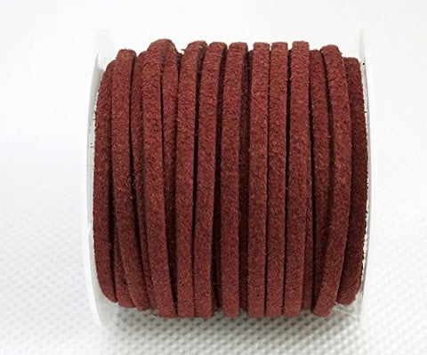 BURGUNDY 3mm x 1.5mm Faux Suede Cord Lace Bracelet Craft Jewelry Making, 5yds Mini Spool (Pack of 2pcs)