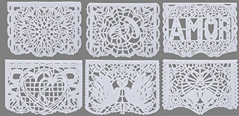 "Beautiful White Large Tissue Papel Picado Banner ""Nuestra Boda"" Designs as Pictured by Paper Full of Wishes"