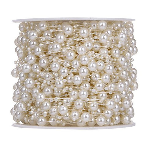 UEB 10 Meters 32.81ft Fishing Line Artificial Pearls Beads Chain by the Roll for Flowers Wedding Party Decoration (Beige)