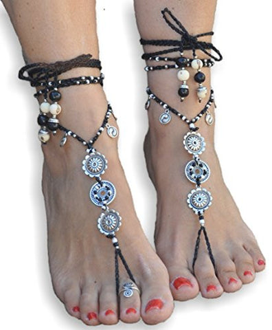 Barefoot Sandals Yin Yang Mandala Foot Jewelry Hippie Sandals