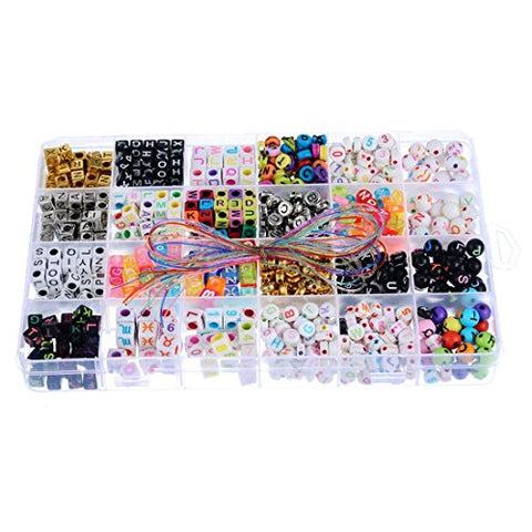 Souarts Mixed Color Square Round Alphabet Letters Acrylic Spacer Loose Beads with Storage