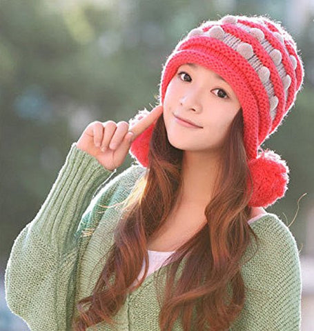 (4 Color) New Korean Version of the Fall and Winter Fashion Lady Cute Wool Hat Knitted Hat Millinery Winter with Pom-poms Ball Top (Red)