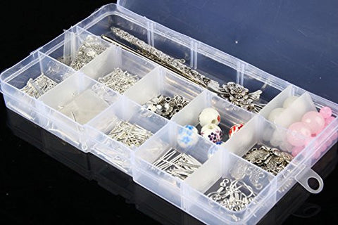 1 Set Jewellery Making Component Starter Kit Tool Cords Findings Charms Beads &Box