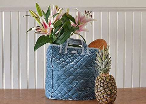 Bella Notte Silk Velvet Quilted Grocery Bag in CLOUD
