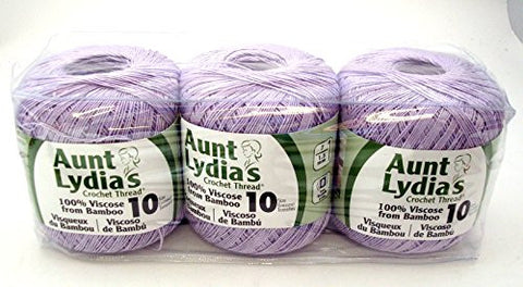 Bulk Buy: Aunt Lydia's Bamboo Crochet Thread Size 10 (3-Pack) Lilac 148-536