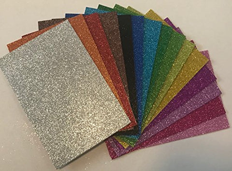 Peachy Keen Crafts - 15 Pack Glitter Foam Paper Sheets - Assorted Colors - Sticky Adhesive Backing - Perfect for Kids Art Projects and Classrooms
