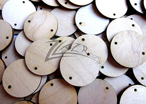 "(25) 1 inch X 1/8"" Wood Circle with 2 Hole Family Birthday Date Board Disc tags - FAST shipping form USA!"