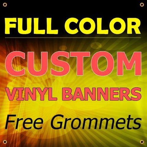 NEW 8'x16' Custom Full Color Vinyl Banners Indoor/Outdoor Personalized Banners with Grommets Custom Vinyl Party/Birthday Banner with True Solvent Ink Signs by BannerBuzz