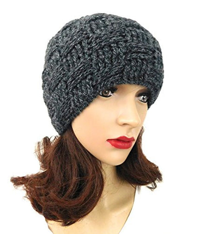 Beanie Gray Women's Crochet Handmade Hat