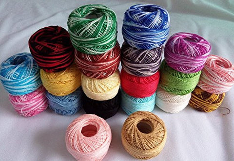 KingClouds 10 rolls veriegated colors + 10 rolls pain colors 9s/2 100% cotton Stitch Embroidery thread crochet thread Hand cross thread