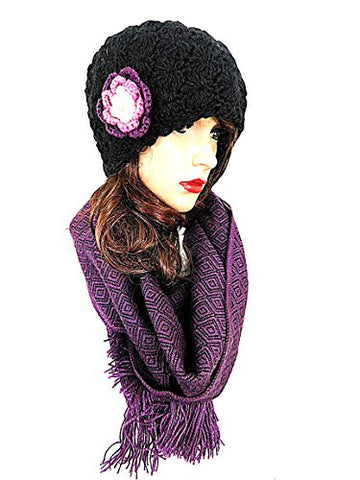 Black Beanie Soft Alpaca Purple Flower & Purple Scarf