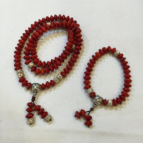 100% Natural Acacia Red Beans (Adenanthera Pavonina) Handwork Ornament Set (Necklace and Bracelet)