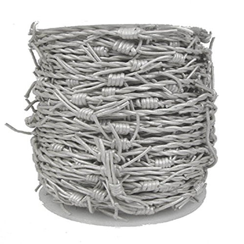 Leather Cord Barbed Wire, 10 Meter Spool, Metallic Silver