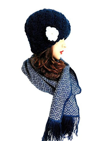 Women's Hat & Scarf Winter Set Blue Beanie Beret Hat and Scarf Set