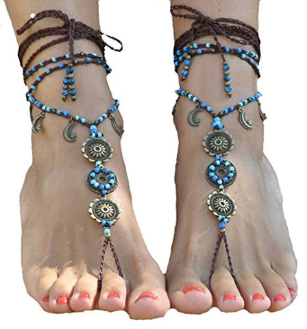 Barefoot Sandals Moon Mandala Foot Jewelry Hippie Sandals