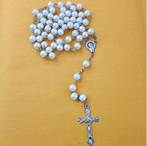 12 X Wholesale Bulk Rosary Long Faux Pearl Rosary Chain for Baptism , Wedding , Religious Favor and Your Choice of Gift Bag /Baptism Favor