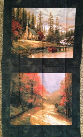 "Thomas Kinkade ""Log Cabin on the Lake"" 100% Cotton Fabric Panel (Great for Quilting, Sewing, Craft Projects, Throw Pillows, Pillow Cases & More) 23"" X 44"""