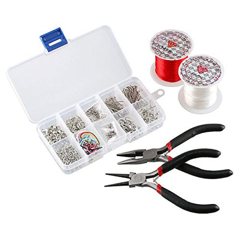 1 Box Set Jewelry Tools Kits Head Pins Chain Beads DIY Accessories / 2 Pliers tool / 1 Reel 10M Red, White Crystal Cord