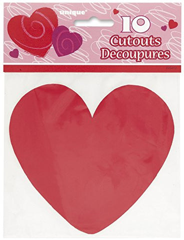 "5"" Paper Cutout Red Heart Decorations, 10ct"