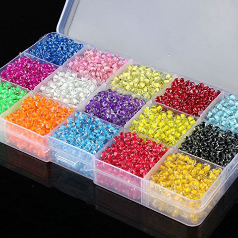 1 Box Set Jewelry Making DIY 15 Color 4500 PCS 4mm Glass Seed Spacer Round Beads