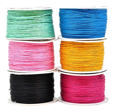 Mandala Crafts 1mm 109 Yards Jewelry Making Crafting Beading Macramé Waxed Cotton Cord Thread (6 Rolls Combo 30)