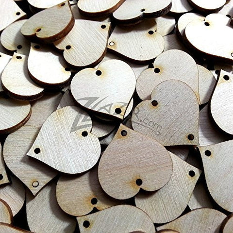 "ZLazr: 25 1"" X 1/8"" Wooden HEARTS Family Birthday Craft Tags Two 2mm Hole Tags Unfinished Birch Wood Made in the USA!"