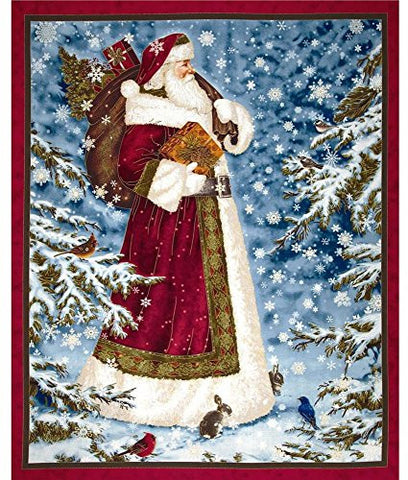 "Quilting Treasures ""Father Christmas"" Santa Clause Metallic Fabric Panel"