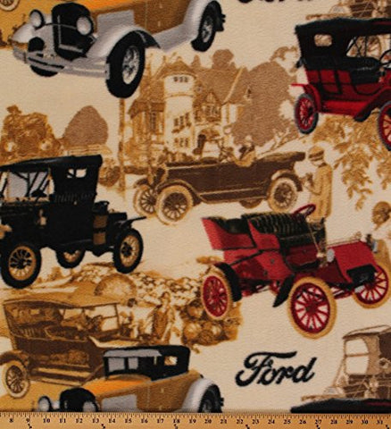 Model T Cars Vintage Vehicles Ford Fleece Fabric Print by the Yard (o1528s)