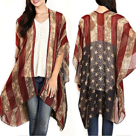 Patriotic American Flag Distressed Kimono Cardigan Sleeveless Vest or Scarf Vintage Boho 4th of July or Beach Kimono Flowing Summer Vest