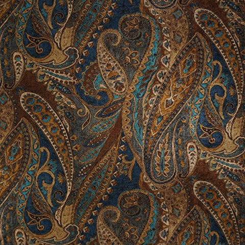"Danny Lapis 56"" width Paisley Drapery Fabric, Curtain Fabric, and Upholstery Fabric by the yard at best price"