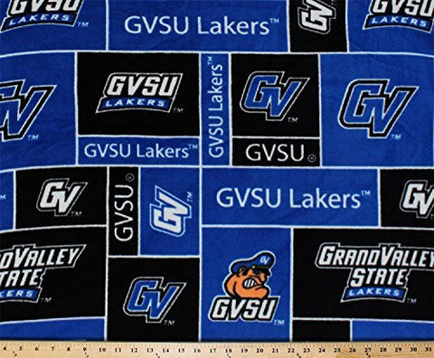 FLEECE Grand Valley State University Lakers GVSU Royal Blue Fleece Fabric Print by the Yard #sgvsu014s