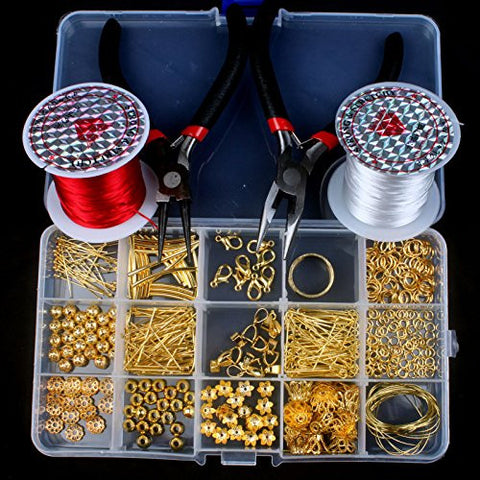 1 Box Set Gold Plated Jewellery Making Starter Kit Finding Charms Beads Tool 2 Pliers / 1 Reel White, Red Crystal Cord String