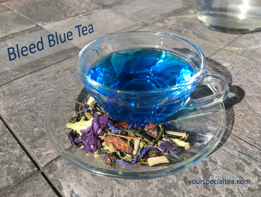 Our Bleed Blue blend is a green tea with a natural blueberry taste that actually turns blue in the cup. What a wonderful relaxing smooth taste...we bleed blue!